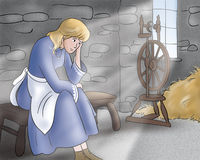 Sad princess -Fairy tales. A digital illustration for Grimms fairy tale Rumpelstiltskin. The beautiful princess is very sad. An european medieval scene Stock Images