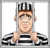 Sad Prisoner Behind Bars Stock Photography