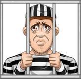 Sad Prisoner Behind Bars. A vector illustration of a sad prisoner locked in jail behind bars vector illustration