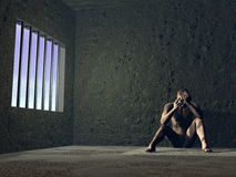 Sad prisoner - 3D render Stock Photography