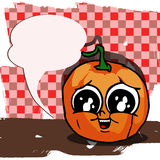 Sad Pumpkin with speech bubble Royalty Free Stock Photography