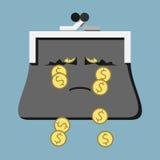 Sad purse losing money Stock Images