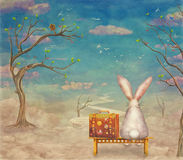 Sad rabbit  with suitcase sitting on the bench on the cloud in sky Stock Images