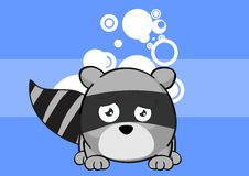 Sad Raccoon ball expression  cartoon background8 Stock Photography