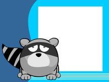 Sad Raccoon cartoon frame background Royalty Free Stock Photography