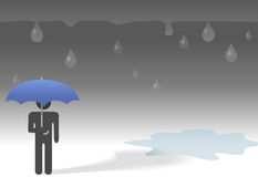 Sad rainy day symbol person umbrella. Under the weather, a sad symbol person under an umbrella and falling raindrops beside a puddle on a gloomy rainy day Stock Photography