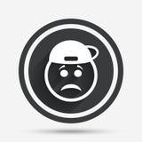Sad rapper face sign icon. Sadness symbol. Royalty Free Stock Photography