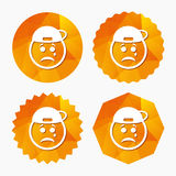 Sad rapper face with tear icon. Crying symbol. Royalty Free Stock Photography