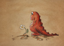 Sad red dino with camomile Stock Photography