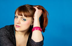 Sad red-haired girl Stock Photos