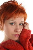 Sad red haired woman Stock Photos