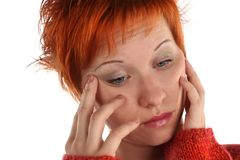 Sad red haired woman royalty free stock photos