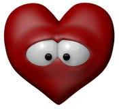 Sad red heart. With eyes - 3d cartoon illustration Stock Photos