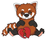 Sad red panda with broken object Stock Photo