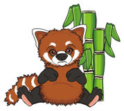Sad red panda with trees Stock Photo