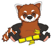 Sad red panda with yellow object Royalty Free Stock Photos