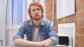 Sad Redhead Beard Man Feeling Upset and Thinking about Problems. 4k , high quality stock video