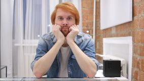 Sad Redhead Beard Man Feeling Upset and Thinking about Problems. 4k , high quality stock video footage