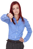 Sad redhead businesswoman, thumbs down, isolated Stock Photos