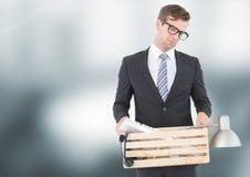 Sad redundant man job loss against blurred background Royalty Free Stock Photo