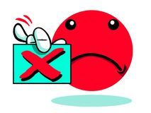 Sad and rejected cartoon emoticon emoji. Red sad cartoon emoticon emoji holding rejection notice on white Royalty Free Stock Photography