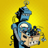 Sad retro robot leaves work. Pop art retro style. New technology outdated technology Royalty Free Stock Photo