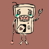 Sad robot. Sad crying robot, staying alone with a flower Vector Illustration