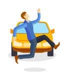 Sad running man at road death accident scene transport vector. Stock Image