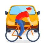 Sad running man at road death accident scene transport vector. Stock Photos