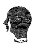 Sad sadness mind soul consciousness human head abstract vector hand drawn. Illustration design Royalty Free Stock Photos