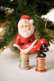 Sad santa on cash Royalty Free Stock Photo
