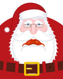 Sad Santa Claus and belt. dull Christmas grandfather. sorrowful. Santa with beard in red cap. Illustration for new year. Xmas template design Stock Images