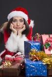 Sad Santa girl royalty free stock images