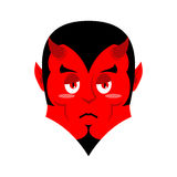 Sad Satan. Sorrowful red devil. Pessimistic demon. Pitiful face. Stock Image
