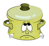 Sad saucepan cartoon Stock Photos