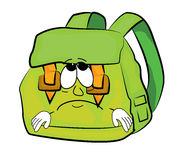 Sad school bag cartoon Stock Image