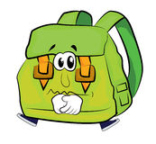 Sad school bag cartoon Royalty Free Stock Images