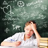 Sad school boy Royalty Free Stock Images