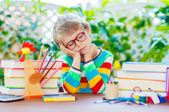 Sad school kid boy with glasses and student stuff Royalty Free Stock Images