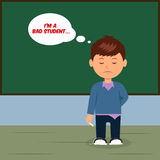 Sad schoolboy at the blackboard. Concept design bad student Stock Photos
