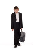 Sad schoolboy isolated on white background Royalty Free Stock Photo
