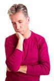 Sad senior man. With grey hair looking down Royalty Free Stock Photos