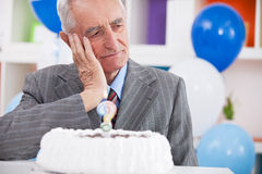 Sad senior man forgot how old is Royalty Free Stock Photo