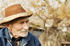 Sad senior man in hat Stock Photography