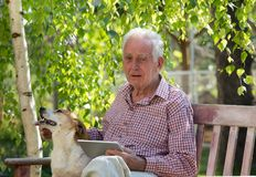 Old man with dog and tablet crying in garden. Sad senior man with his dog sitting on bench in garden, holding tablet and crying royalty free stock photography