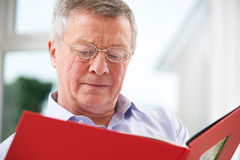 Sad Senior Man Looking At Photo Album Stock Photography