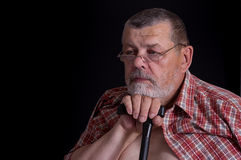 Sad senior man thnking about life Royalty Free Stock Image