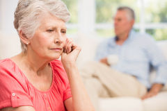 Sad senior woman after arguing with husband Stock Photography