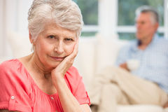 Sad senior woman after arguing with husband Stock Images