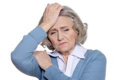 Sad senior woman  isolated Stock Photography